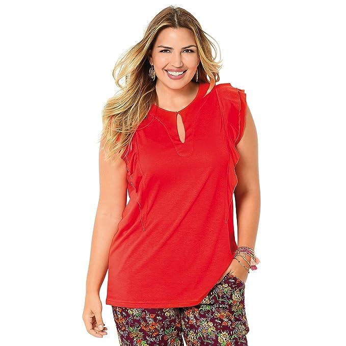 VENCA Camiseta Escote Redondeado con Abertura lágrima Mujer by Vencastyle - 014232,Rojo Coral,
