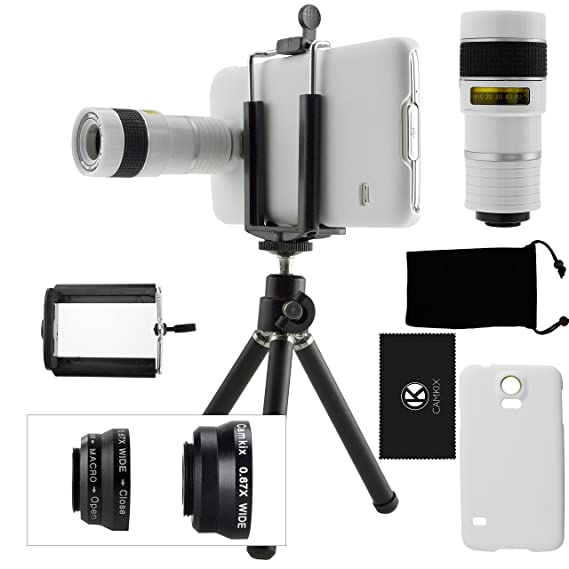 CamKix Camera Lens Kit compatible for Samsung Galaxy S5 including 8x  Telephoto Lens / Fisheye Lens / 2in1 Macro and Wide Angle Lens / Tripod /  Phone