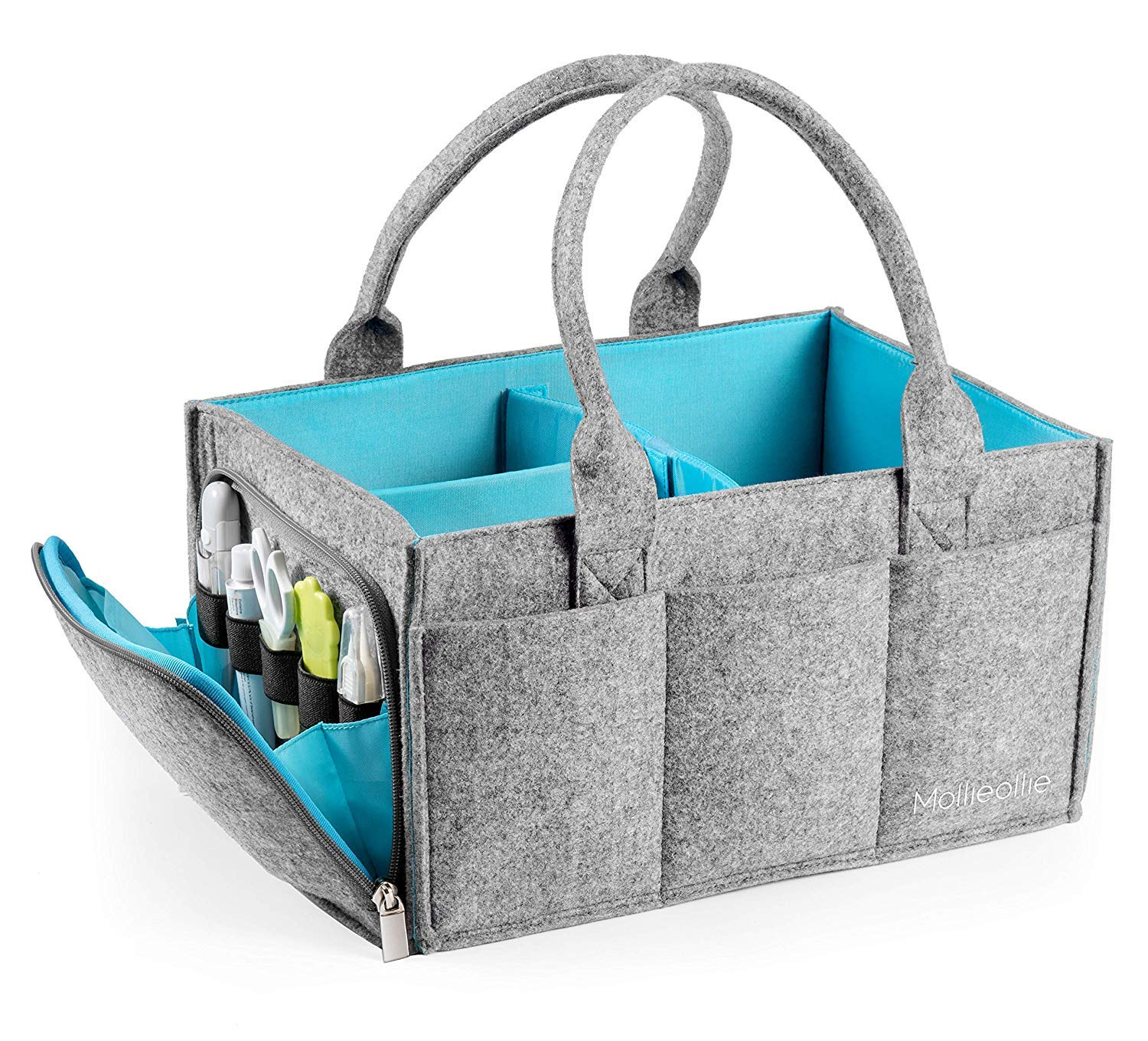Keebgyy Baby Diaper Caddy Organizer, Felt Nursery Diaper Tote Bag Gray Felt Basket Infant Girl Boy Baby Wipes Kid Toys Stylish Large Diaper Caddy - Newborn Registry Must Have