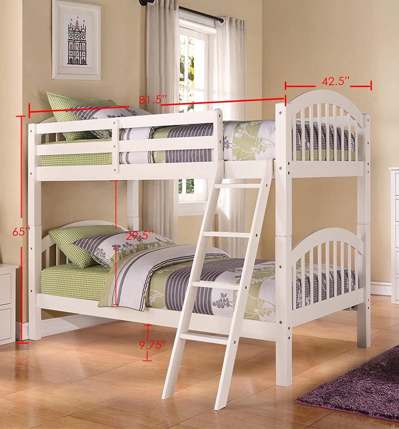 InRoom Designs B125W Wood Arched Design Twin Size Convertible Bunk Bed White ,