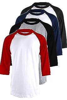 TOP LEGGING TL Men s 4 Pack 3 4 Sleeve Baseball Cotton Crew Neck Jersey  Raglan 8f233c8fb