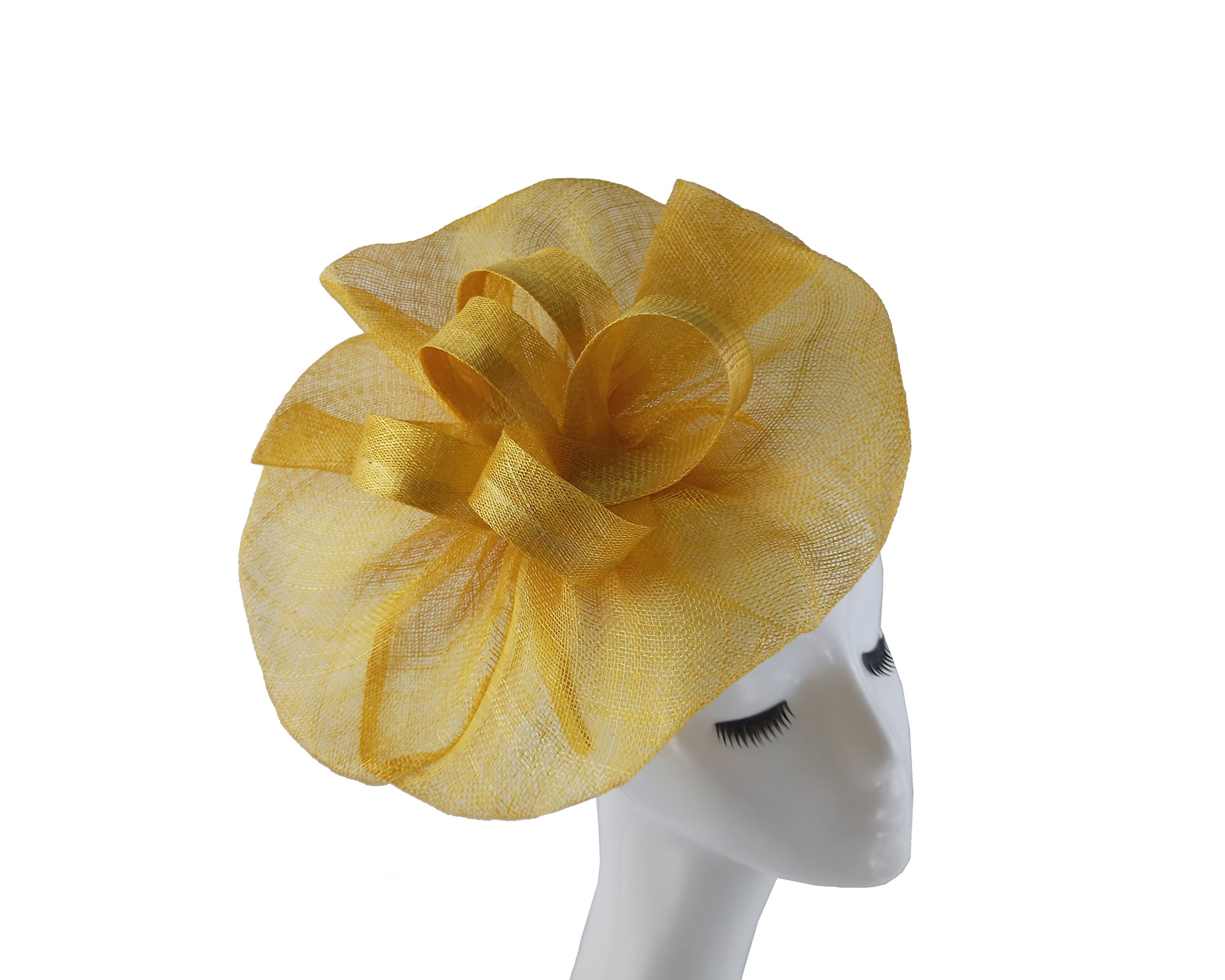 Women Sinamay Fascinator Headband Clip Head Piece for Tea Party Racing Debery Church Wedding Special Occasions (Golden Yellow)