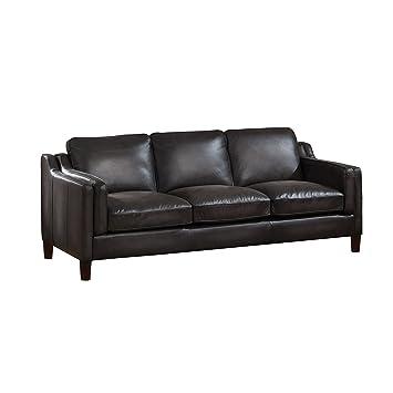 Amax Leather Ballari 100% Leather Sofa, Weathered Grey