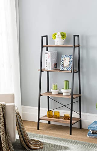 eHomeProducts Reclaimed Oak Finish Metal Frame 4-tier Ladder Shelf Bookcase Bookshelf Accent, Plant Stand Storage Garden, Bathroom
