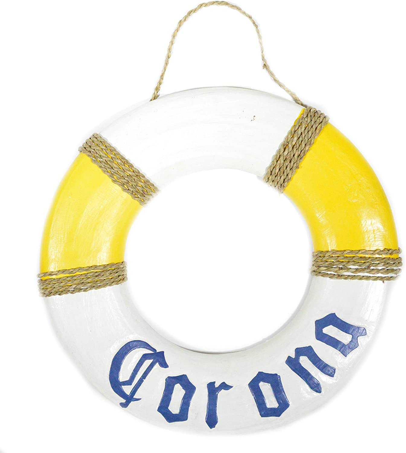 Hand Carved Blue Letters CORONA Beer Life Ring Buoy Life Saver Wooden Wall Hanging Art Sign Tiki Bar