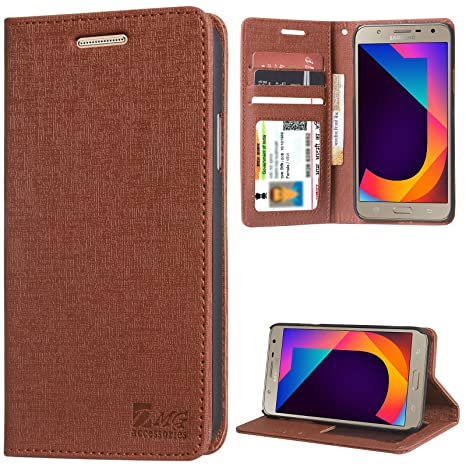 online store 2e1eb 52f1d DMG Galaxy J7 Nxt Cover, PU Leather Wallet Case Book Cover with Stand for  Samsung Galaxy J7 Nxt (Texture Brown)