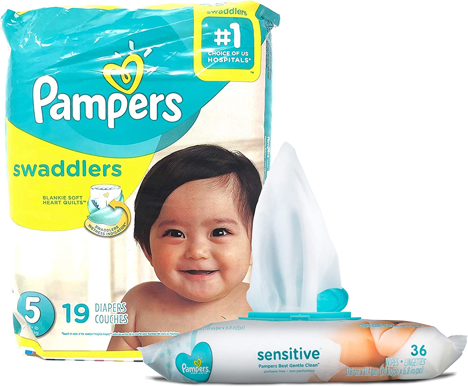 Pampers Swaddlers Disposable Size 5 Diapers (19 Count) Bundle with 36 Pampers Sensitive Care Baby Wipes