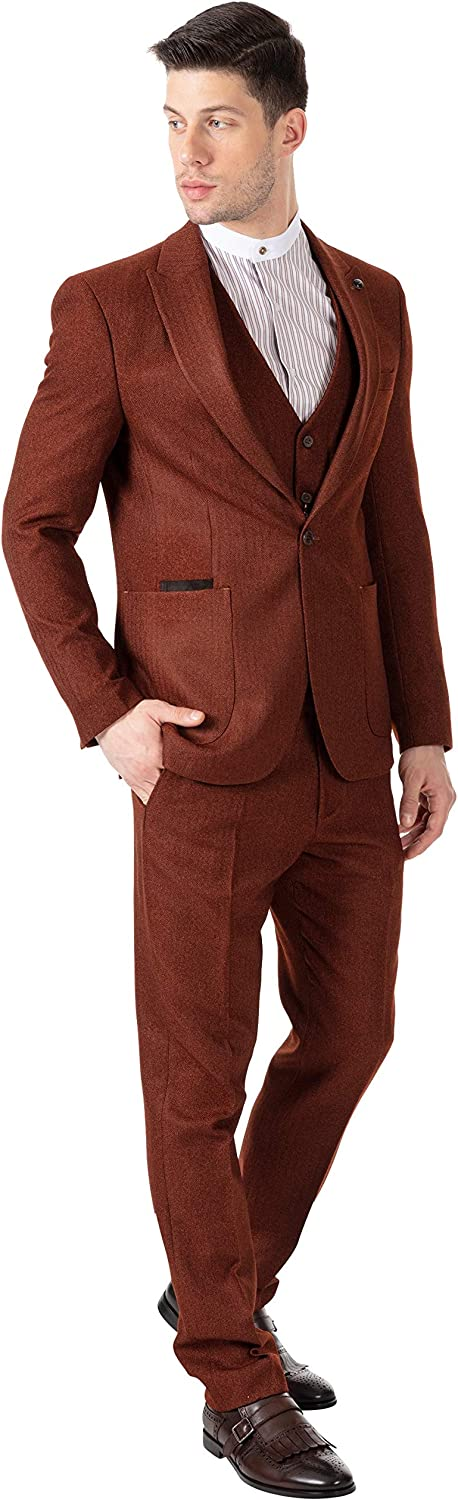 1960s Mens Suits | 70s Mens Disco Suits Jack Martin London Tobacco Brown Herringbone Tweed 3 Piece Suit - Patch Pockets & Suede Trim Detailing $189.00 AT vintagedancer.com