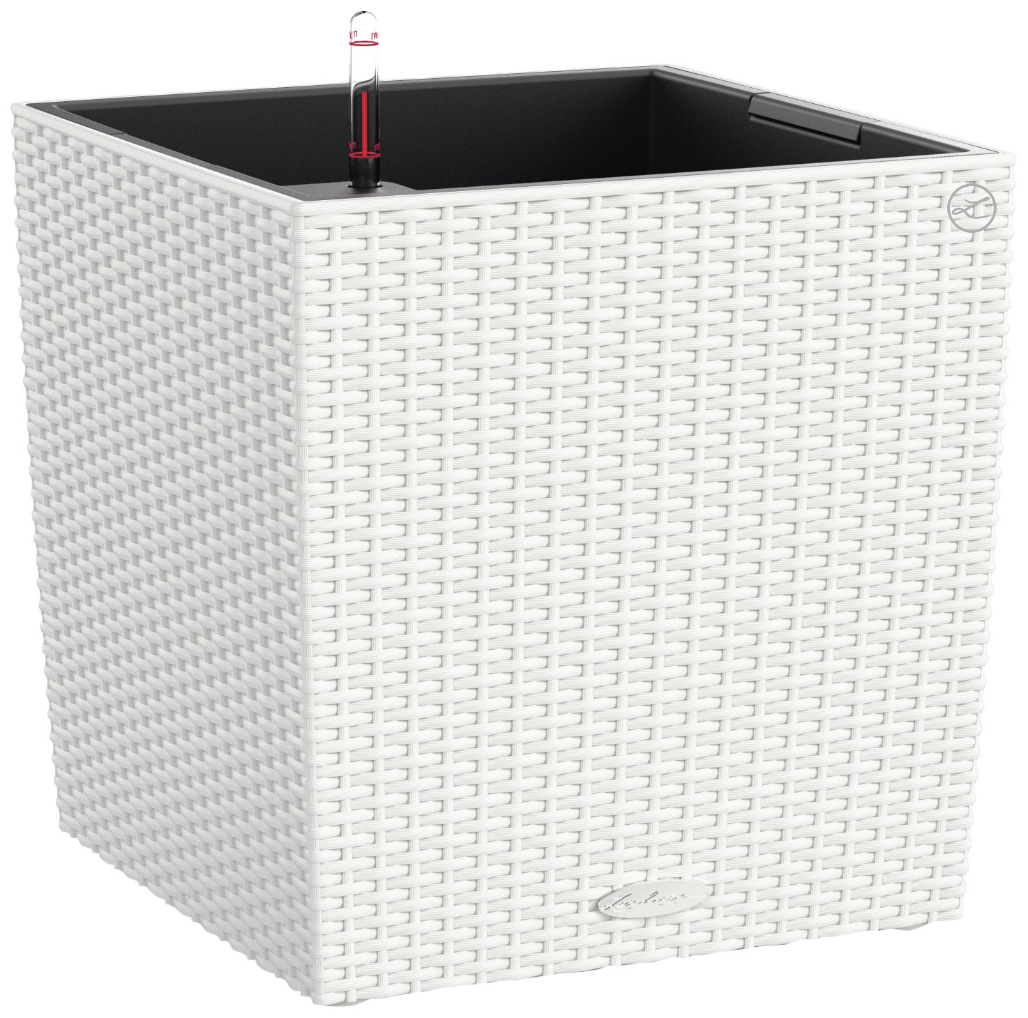 Lechuza Cube Cottage 40 Planter, White Wicker by Lechuza