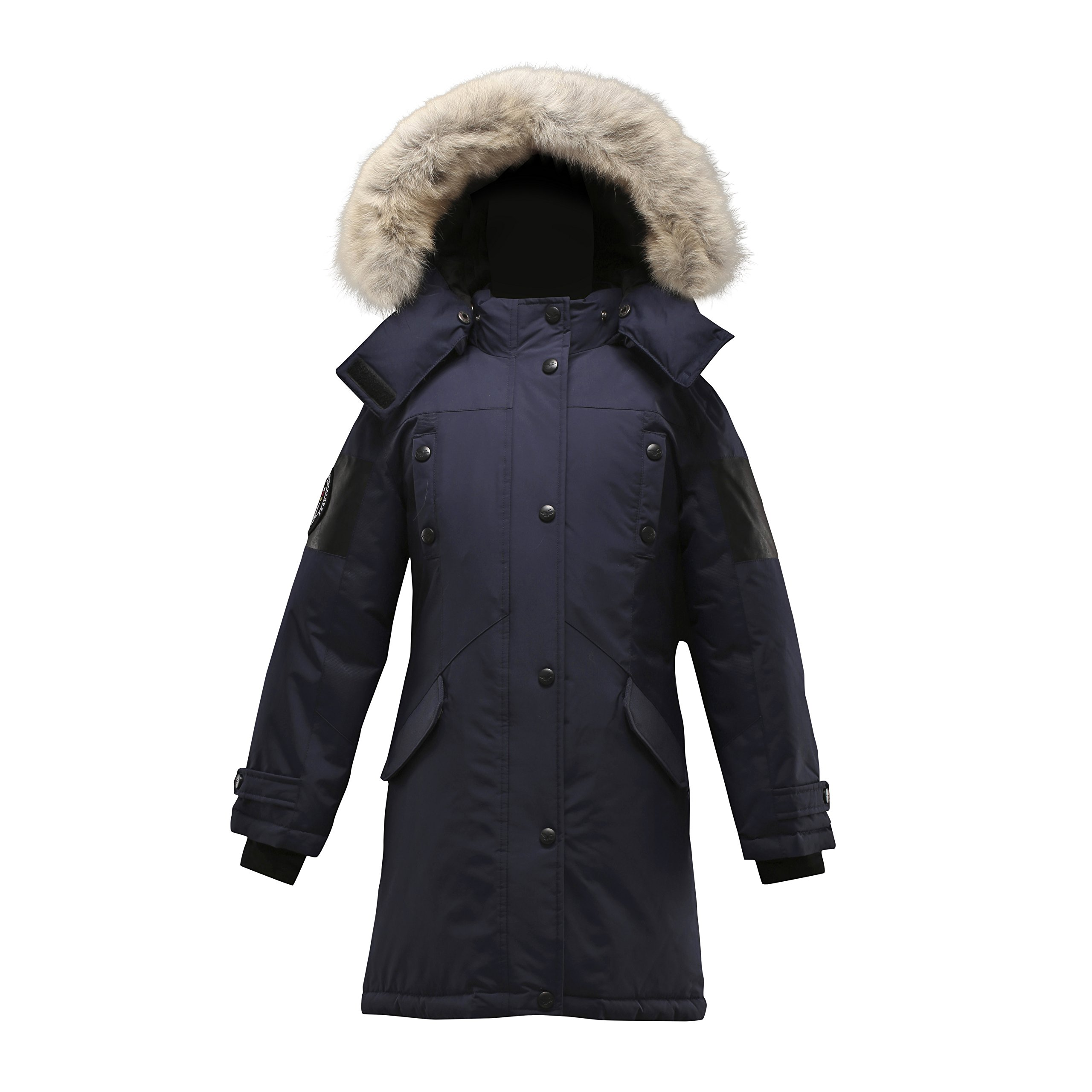 Triple F.A.T. Goose Embree Girls Down Jacket Parka with Real Coyote Fur (14, Navy)