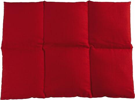 Cuscini Riscaldanti Con Semi.Cuscino Con Semi Di Lino 40x30 6 Compartimenti Rosso Cotone