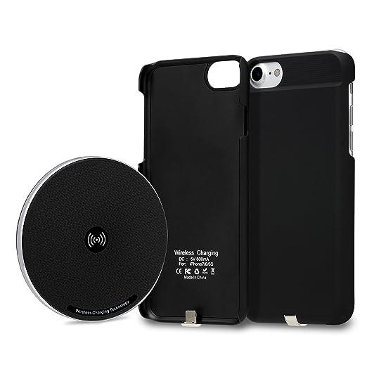 Conjunto de cargador inalámbrico 2 en 1 para iPhone 7, almohadilla cargadora inalámbrica Qi GMYLE + Funda receptora de carga inalámbrica de iPhone 7