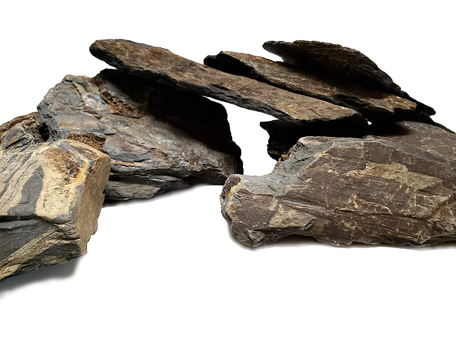 Perfect Rocks for Aquascaping Planted Aquariums Size 2 to 5 Inch 5 lbs Reptile and Amphibian Enclosures Natural Aquarium Stones Brown//Grey Slate Cichlid and Nano Tanks PH Neutral