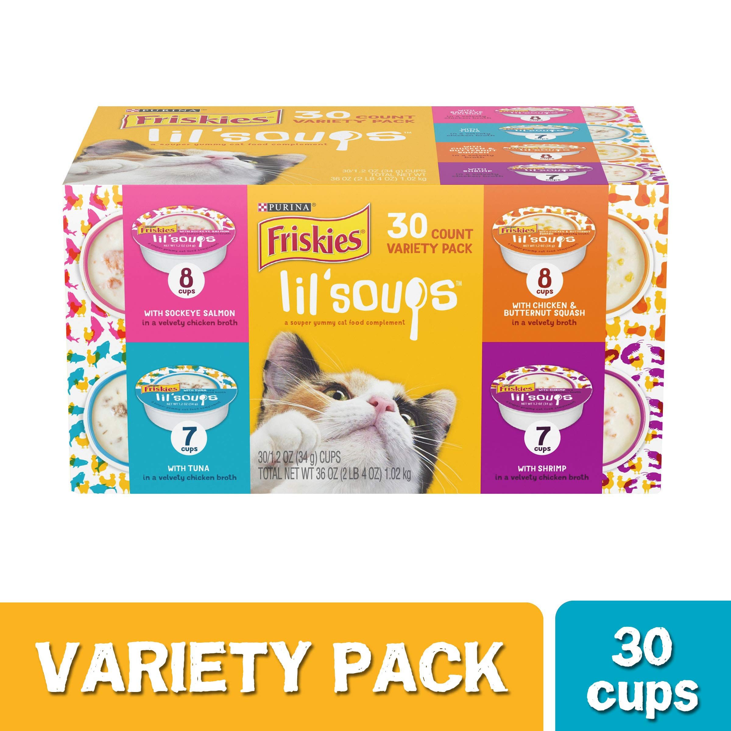 Purina Friskies Grain Free Wet Cat Food Complement Variety Pack, Lil' Soups Salmon, Tuna, Chicken & Shrimp, 30 Count  (Pack of 1) by Purina Friskies
