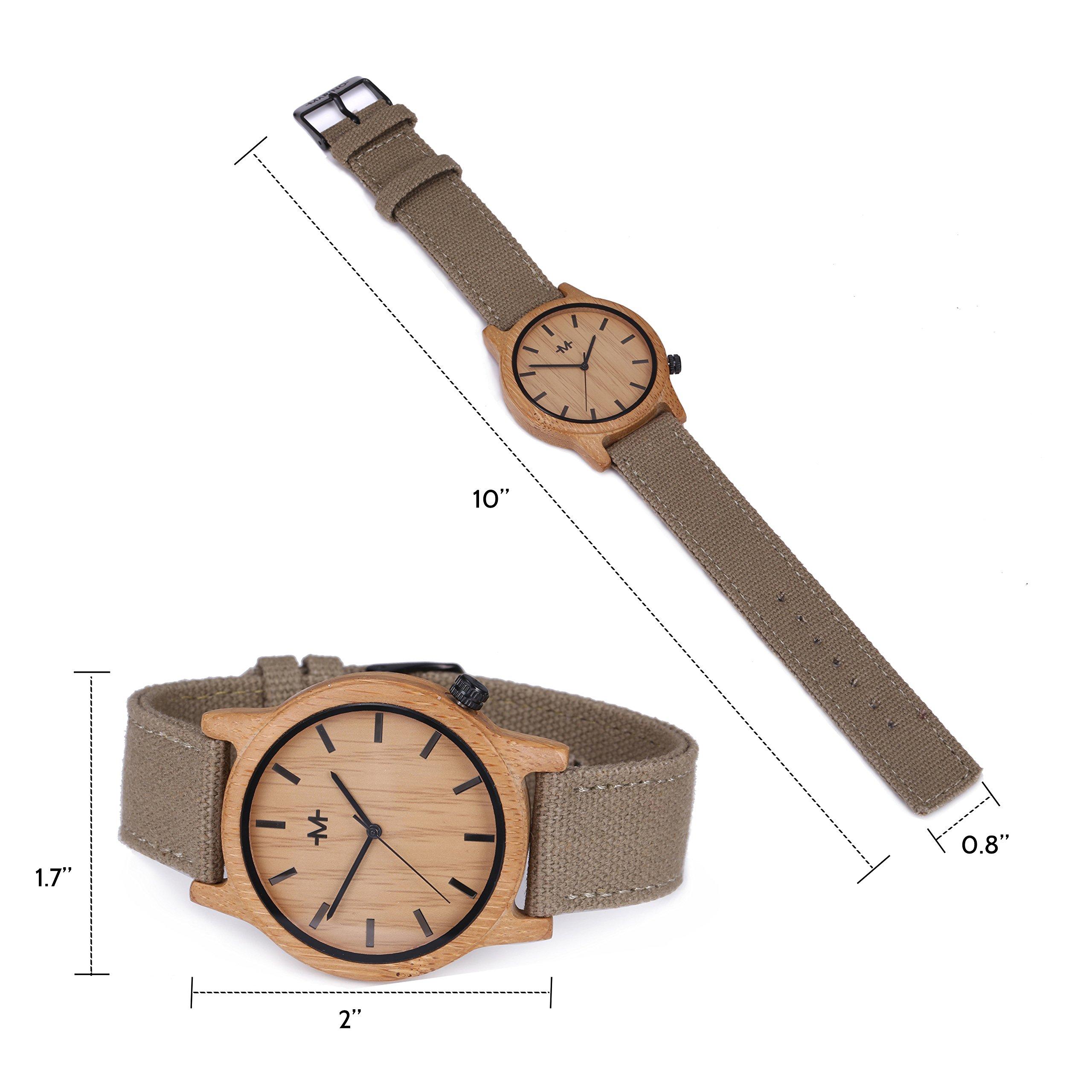 Marino Mens Wooden Watch - Wrist watches for Men - Dress Wood Watch (One Size, Khaki - Canvas Band) by Marino Avenue (Image #5)