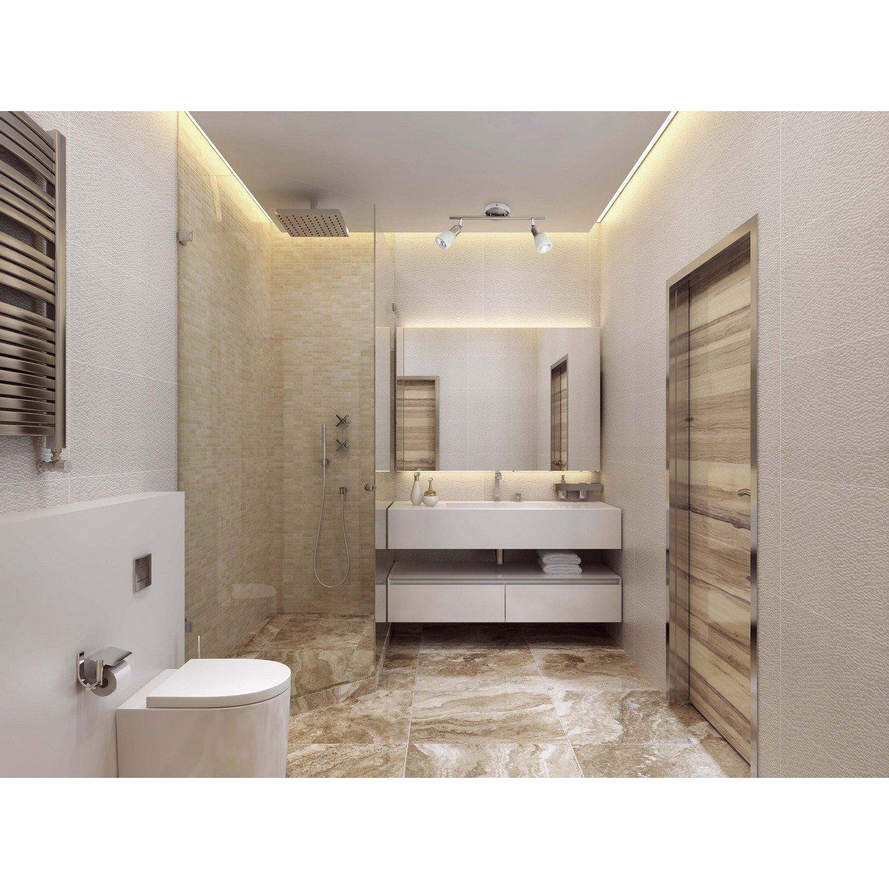 Double spot sur rail a 2 lampes réglables, applique ou plafonnier de style moderne en métal chrome et verre blanc, pour salle de bain ou cuisine, 2 ampoules non-incl. 2 x 40W E 14 230 V [Classe énergétique A] DeMarkt