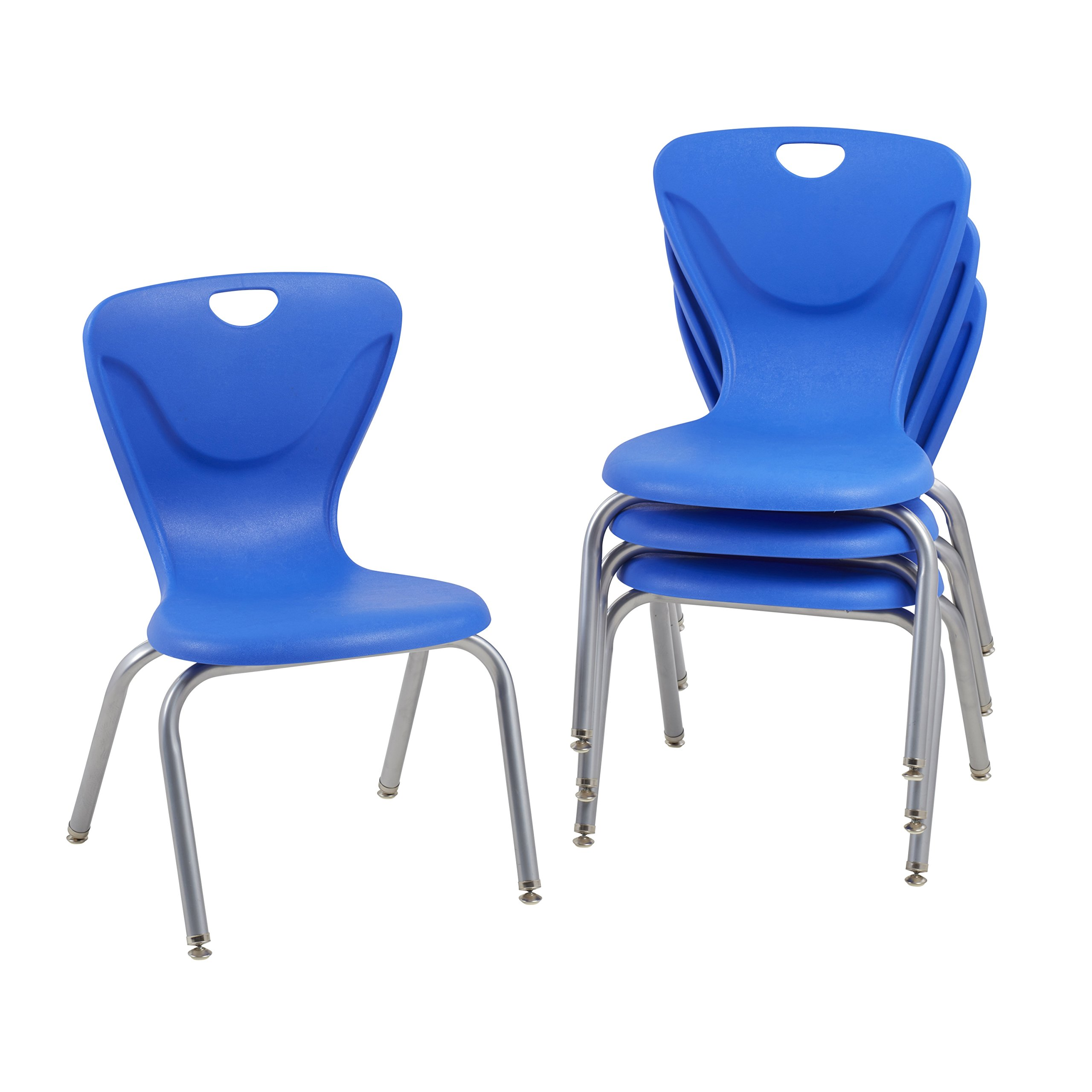 ECR4Kids 16'' Contour School Stacking Student Chair, Molded, Blue (Set of 4)