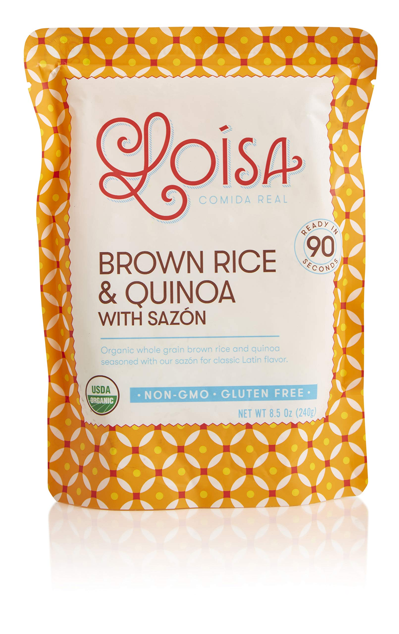Loisa Organic Brown Rice & Quinoa with Sazon (3 Pack), Ready to Heat & Eat, USDA Organic, Non-GMO, Gluten-Free, Vegan, No Preservatives, No Artificial Flavors or Colors, BPA-Free Pouch, 8.5 Ounce