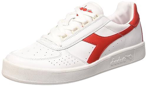 Diadora B. Elite Sneaker a Collo Basso Uomo Bianco Bianco/Rosso Ferrari