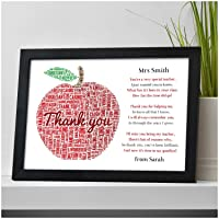 Thank You Teacher Gifts APPLE Personalised Poem Best Teacher Leaving Present - Thank You Gifts for Teachers, Teaching Assistants, TA, Nursery Teachers - ANY NAMES - A5, A4 Prints and Frames