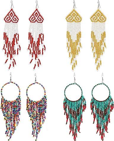 Multicolour Beaded Earrings Bohemia Long Drop Dangle Handmade Tassels Gift