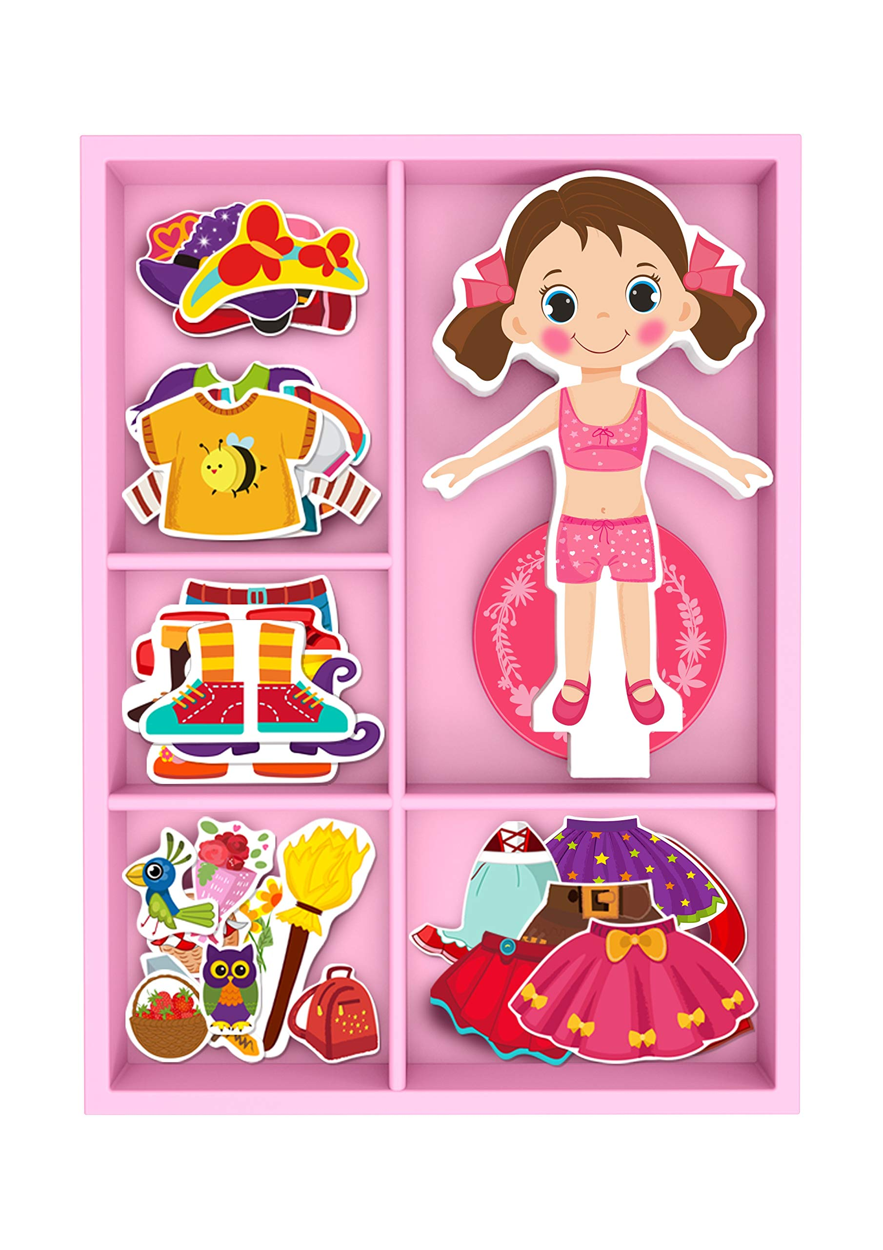 TOYSTER'S Magnetic Wooden Dress-Up Dolls Toy | Pretend Play Set Includes: 1 Wood Doll with 30 Assorted Costume Dress Ideas | Not Your Average Paper Doll | Great Gift Idea for Little Girls 3+ (PZ550)