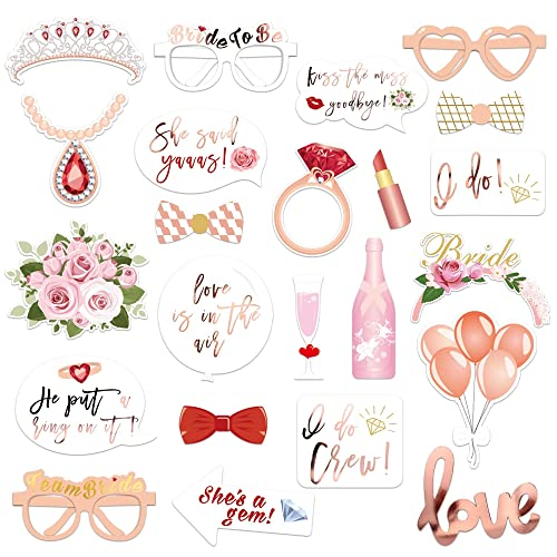 Konsait 23Pcs Rose Gold Wedding Hen Party Photo Booth Props Wedding Bridal Shower Hen Night Do Party Game Accessories Selfie Props