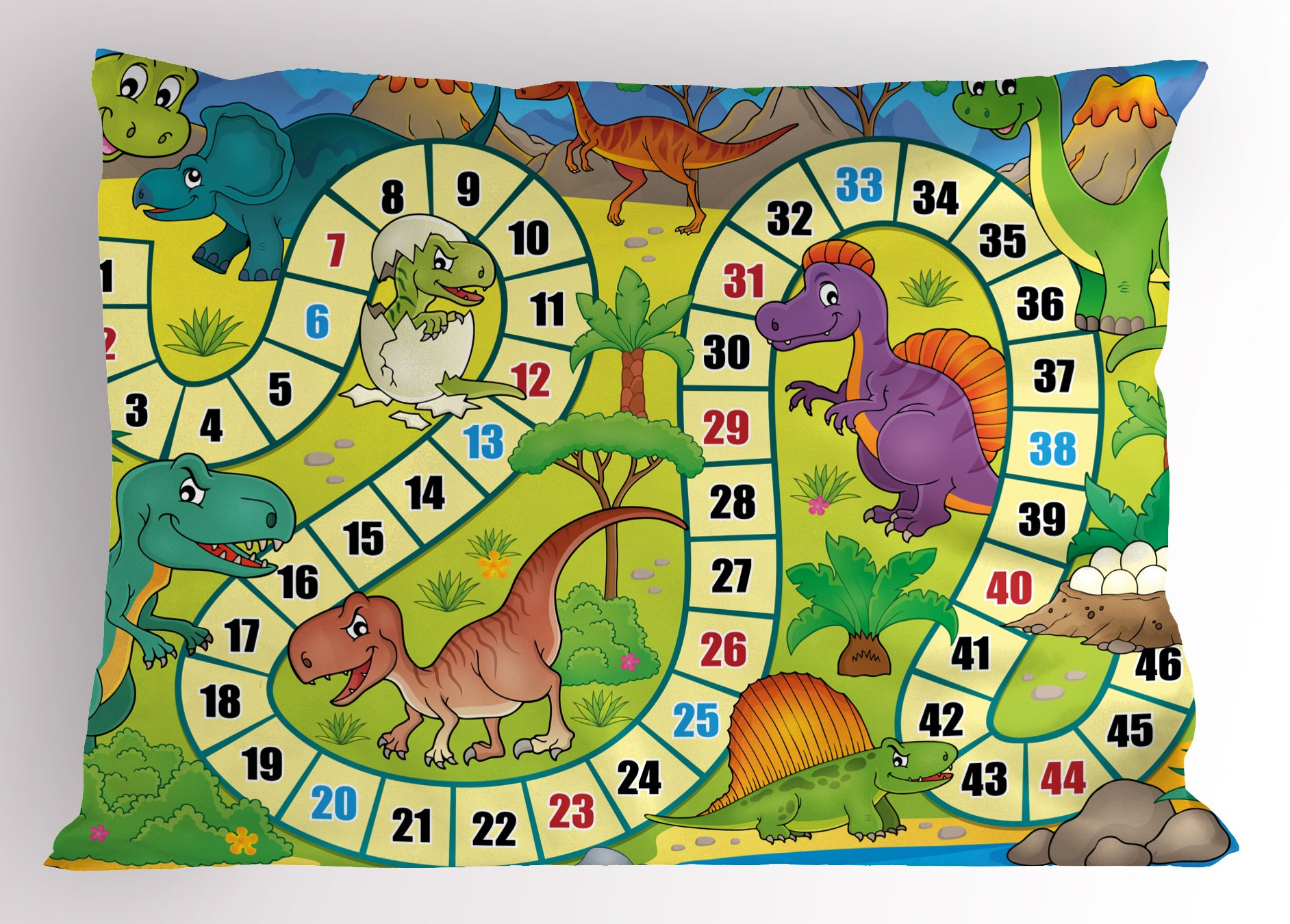 Lunarable Board Game Pillow Sham, Cute Dinosaurs Jungle Numeral Wavy Line Prehistoric Fauna Wildlife Composition, Decorative Standard Size Printed Pillowcase, 26 X 20 inches, Multicolor