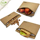 ANGU SPORTS Reusable Sandwich Bags: Non-Toxic, BPA Free, Reusable Paper Snack Bags | Set Of 3 |Keeps Food Fresh I Insulated Lunch Bag Lining |Alternative To Food Wraps |No More Plastic Bags