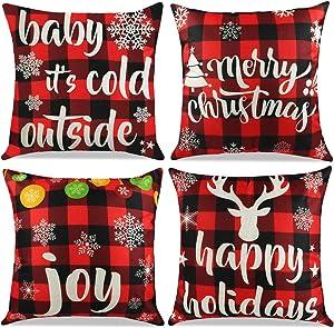 Cokoka Christmas Pillow Covers 18x18 inch Set of 4- Red and Black Buffalo Check Plaid Linen Xmas Throw Pillow Covers Pillowcases for Holiday Car Sofa Cushion Couch Farmhouse Home Decor