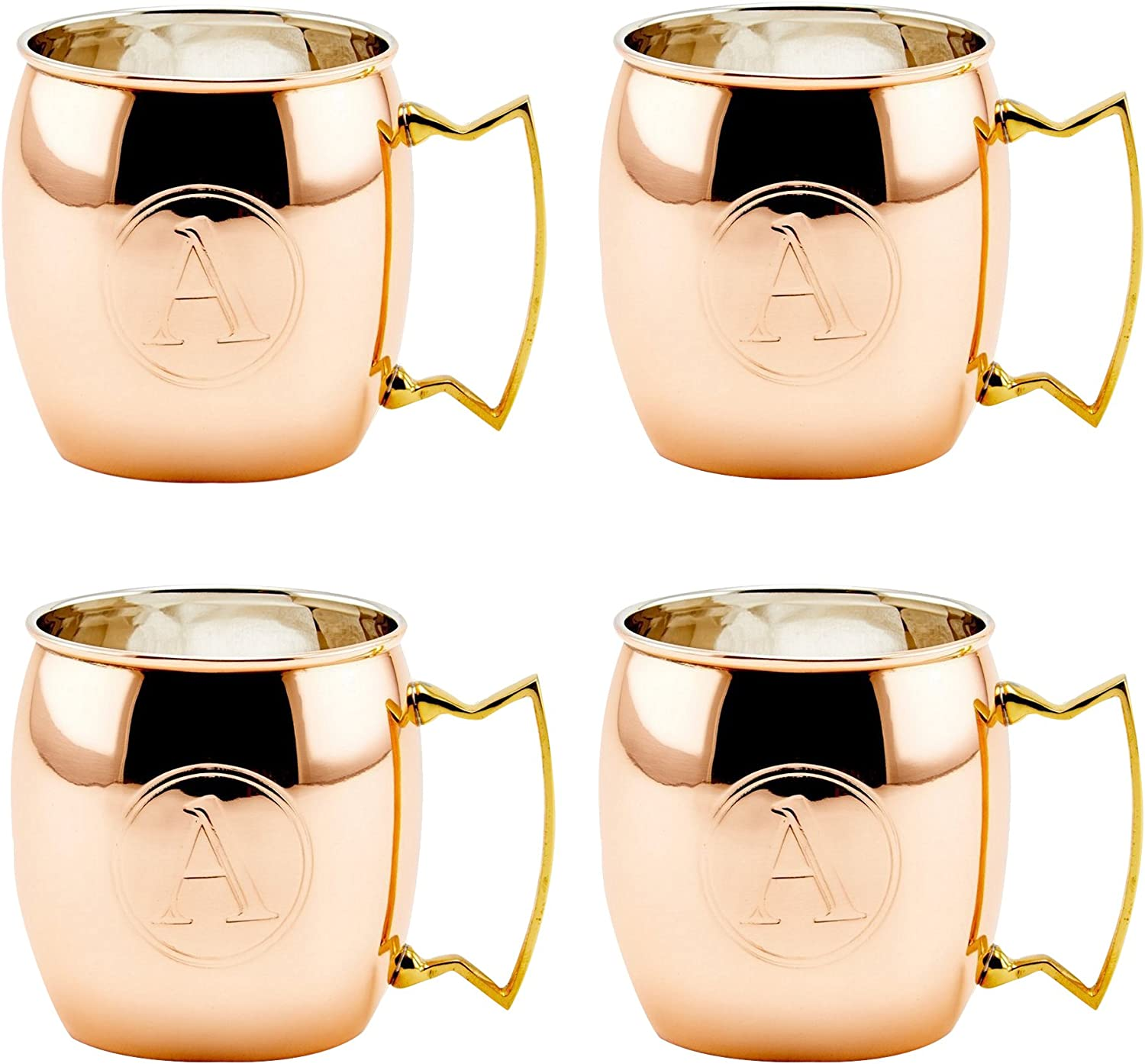 Old Dutch International Solid Moscow Mule Mug, 16-Ounce, Monogrammed A, Set of 4