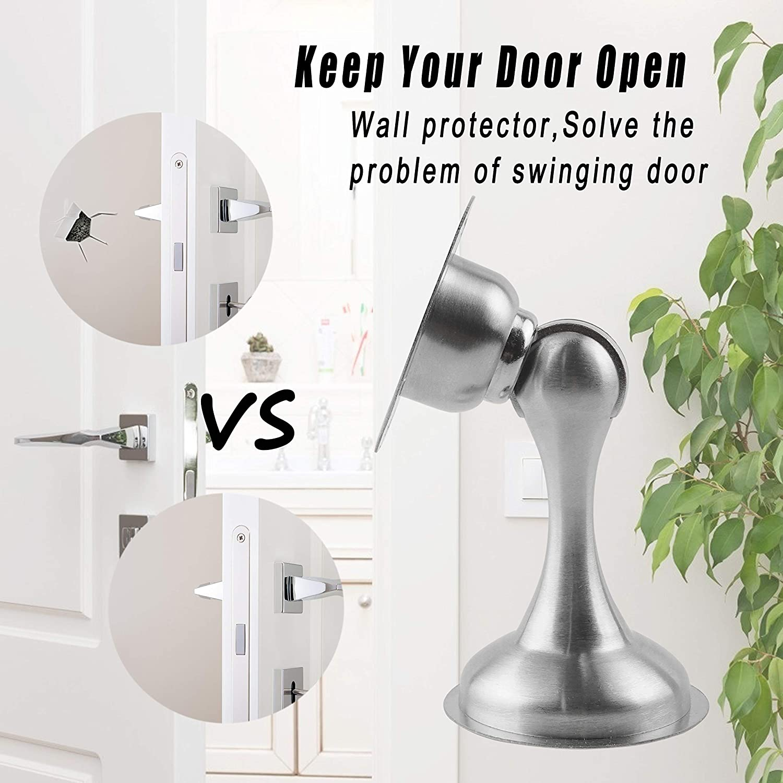 Screws for Stronger Mount 3M Double-Sided Adhesive Tape Magnetic Door Stop Door Catch 2 Pack Door Stopper No Need to Drill Protect Door and Wall Stainless Steel Door Stopper Security