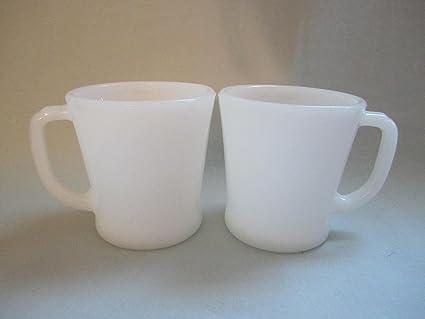8331ee18985 Set of 2 - Vintage Anchor Hocking Fire-King Milk Glass D Handle Mug Cups