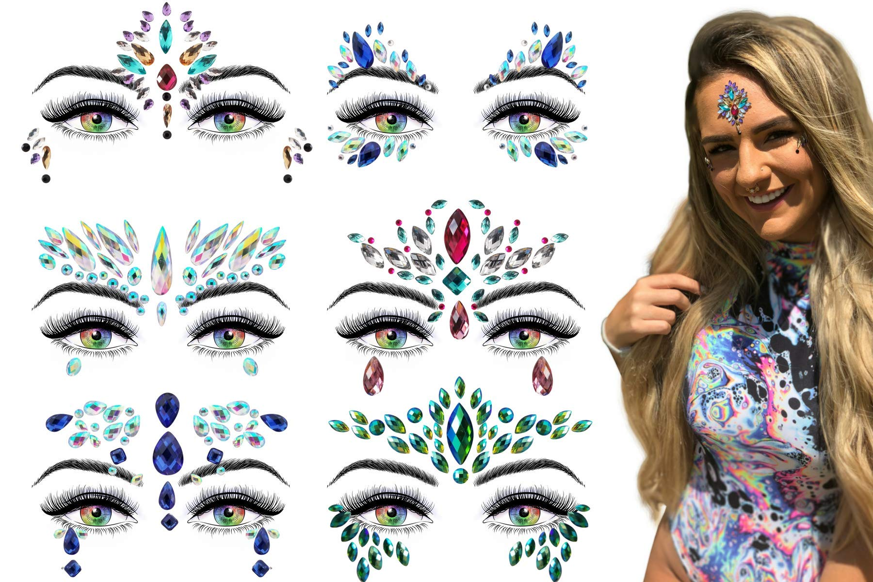 6 Stick On Face Jewels Sets, Gems, Glitter, Gem-Stones, Rhinestones Stickers, Temporary Tattoo - Self-Adhesive, Bindi, Indian, Mermaid Crystals. Accessories For Body, Women, Festivals, Rave, or Party by Luxxe Hour (Image #1)