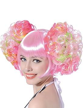 Peluca rosa clara coletas rizadas mujer - Única