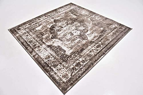 Unique Loom Sofia Collection Traditional Vintage Light Brown Square Rug 6 x 6
