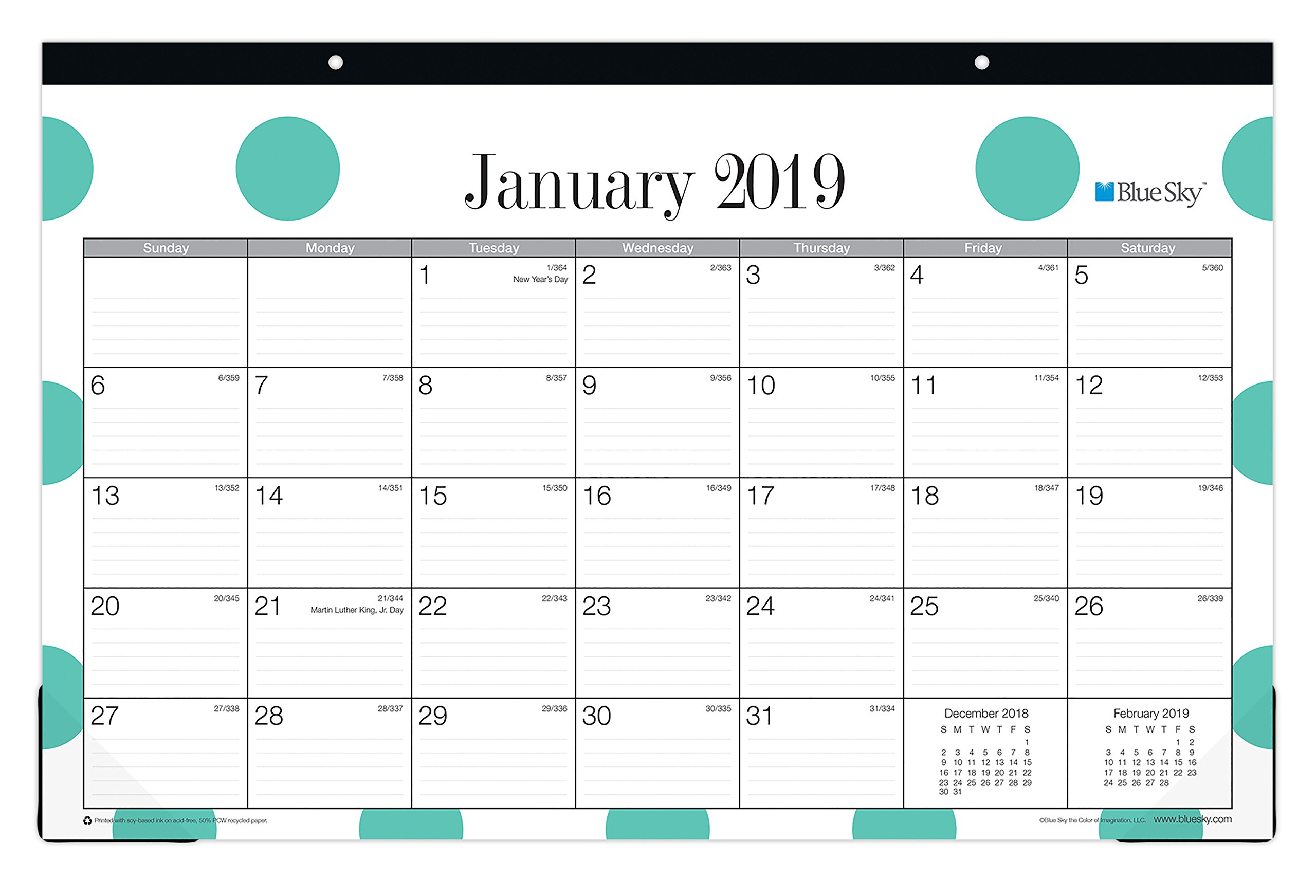 Blue Sky 2019 Monthly Desk Pad Calendar, Ruled Blocks, 17'' x 11'', Penelope