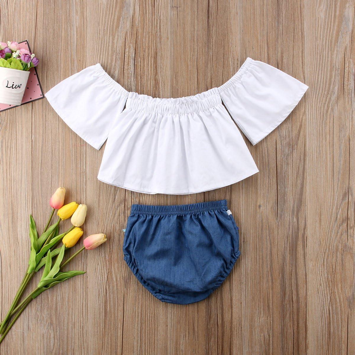 Urkutoba Baby Girls Summer Off Shoulder Ruffle Bell Sleeve T-Shirt Tank Tops+Multicolour Tassels Bottom Short Pants Outfits