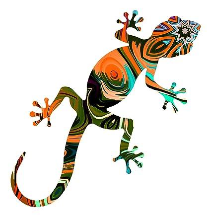Amazon.com: Metal Gecko Outdoor Wall Art Jubilee Orange Medium Gecko ...