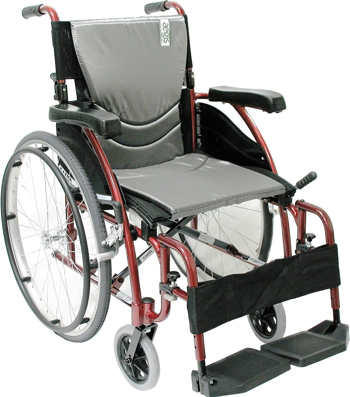 "Karman Healthcare S-115 Ergonomic Ultra Lightweight Manual Wheelchair, Rose Red, 18"" Seat Width"