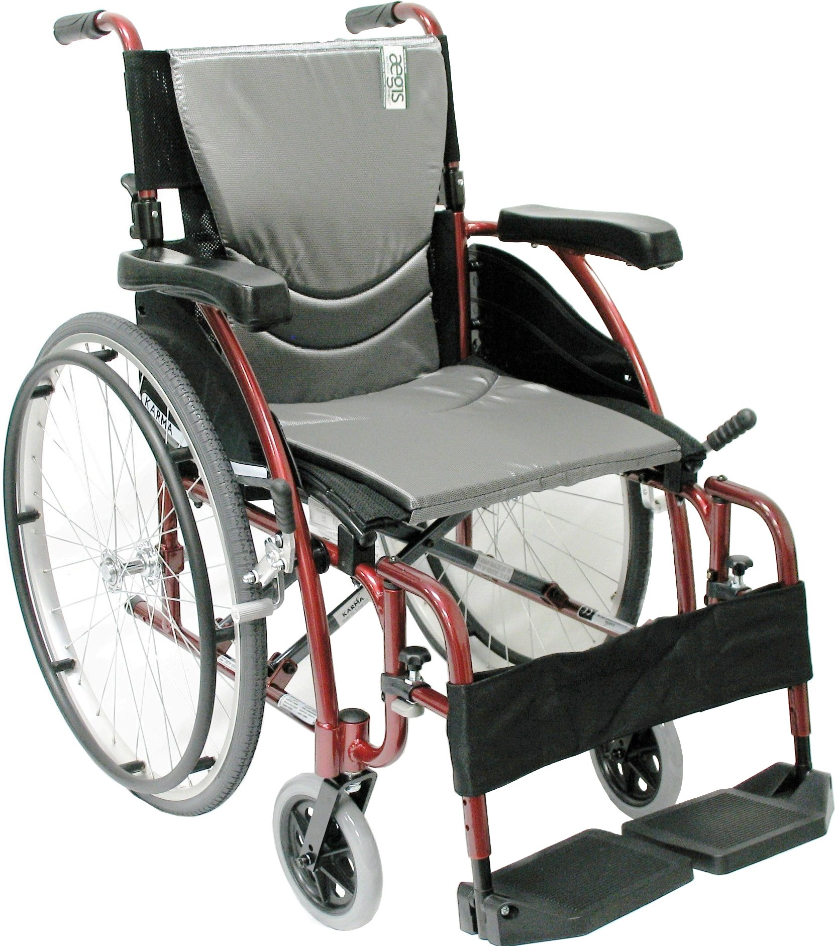 Karman Healthcare S-115 Ergonomic Ultra Lightweight Manual Wheelchair, Rose Red, 16 Inches Seat Width