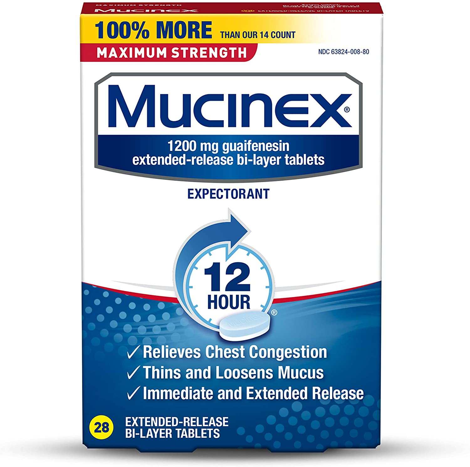 Mucinex Maximum Strength 12 Hour Chest Congestion Expectorant Relief Tablets, 1200 mg, 28 Count, Thins & Loosens Mucus