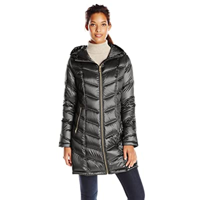 Calvin Klein Women's Hooded Chevron Quilted Packable Down Jacket (Regular and Plus Sizes): Clothing