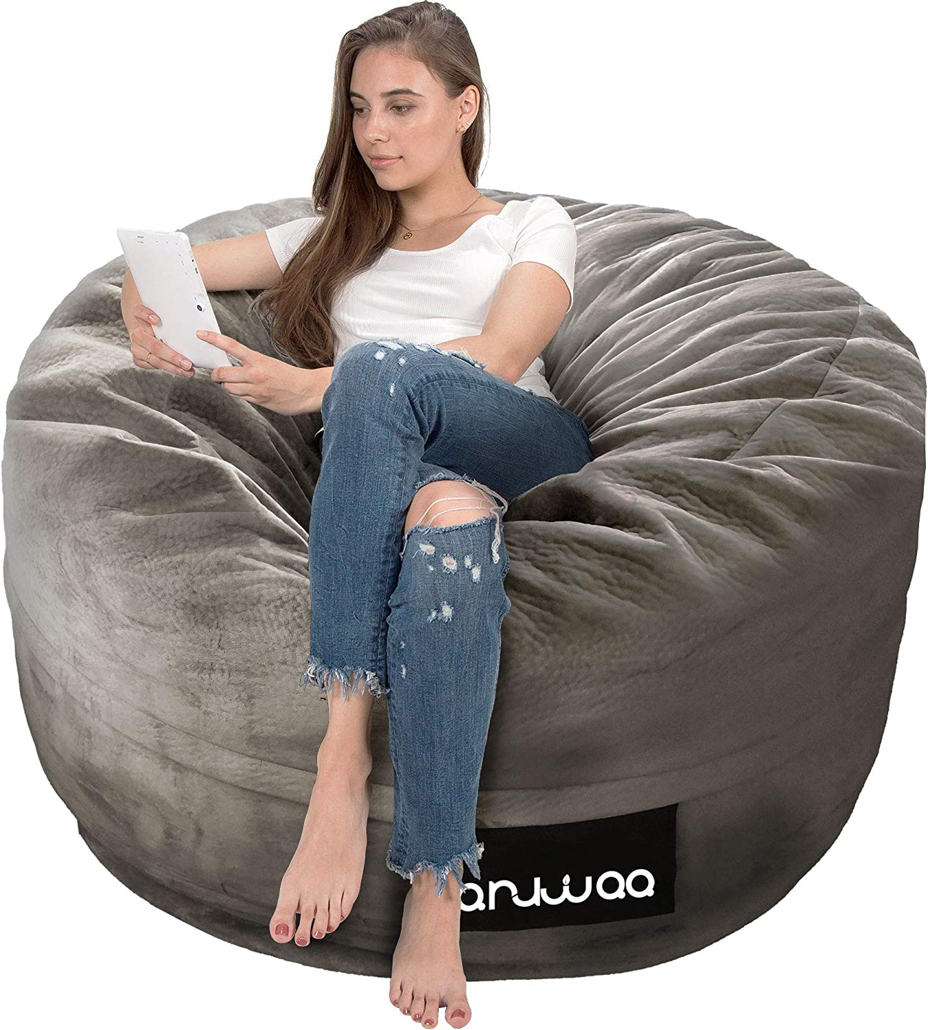 ANUWAA Bean Bag Chair, Giant 4' Memory Foam Bean Bag for Kids,Teens, Adults, Big Sofa with Fluffy Removable Microfiber Cover, Furnitures for Dorm Room and Living Room, Warm Grey