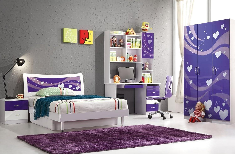 Amazon Com 5 Pcs Loft Bedroom Set Kids Table And Chair Wood Kindergarten Furniture Purple Theme Furniture Decor