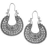 Indian Stylish Vintage Ethnic Oxidized Silver Tone Designer Hoop Earrings Love Gift