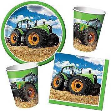 33 Teiliges Traktor Partyset Bestehend Aus Teller Becher