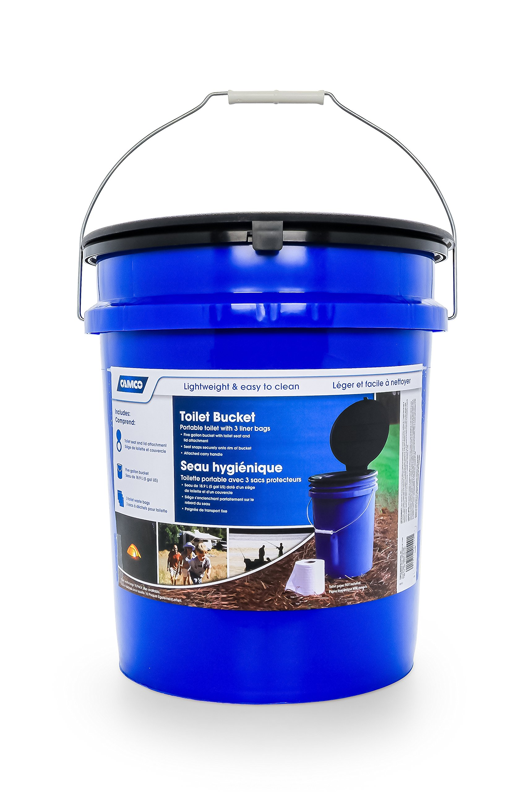 Camco Portable Toilet Bucket with Seat and Lid Attachment - Holds 5 Gallons, Lightweight and Easy to Clean, Great for Camping , Hiking and Hunting and More (41549)