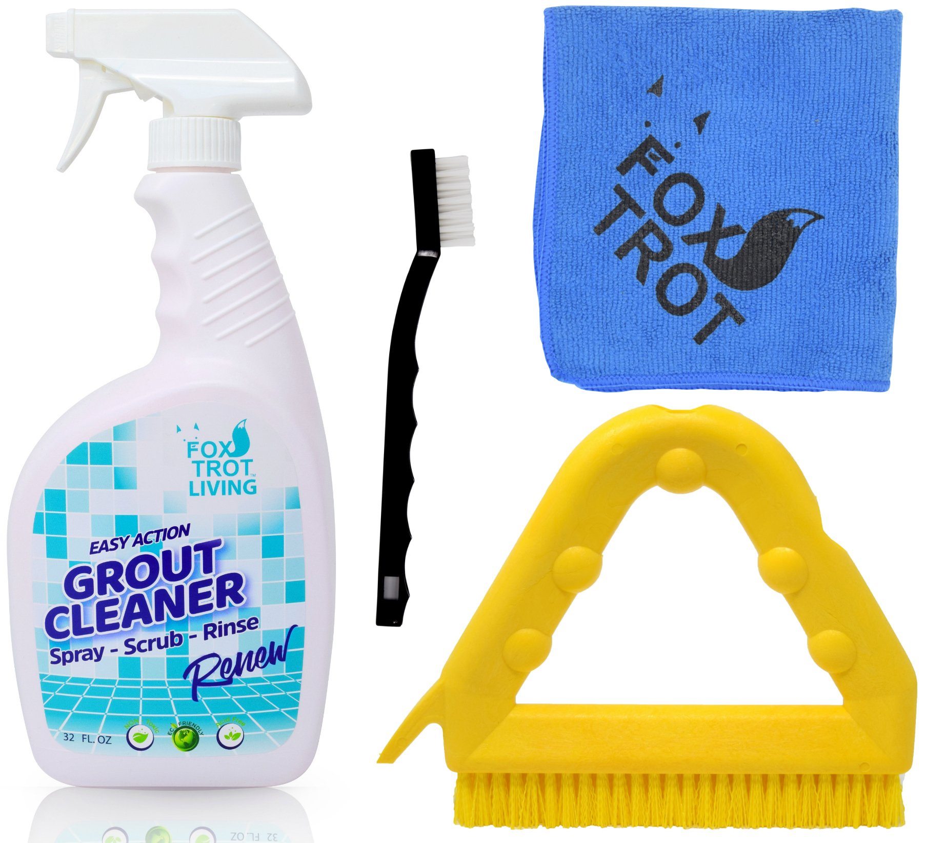 EASY ACTION GROUT AND TILE CLEANING KIT: 32 OZ Bottle EASY ACTION Grout Cleaner Spray Bottle   Versatile Triangle Grout Brush With Scraper   Mini Nylon Brush   Foxtrot TM Professional Grade Microfiber