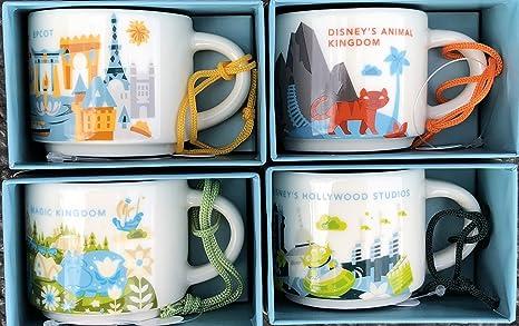 Set of 4: Disney's Animal Kingdom + Magic Kingdom + Hollywood Studios +  Epcot You Are Here Starbucks 2 Ounce Mini Mug ORNAMENTS